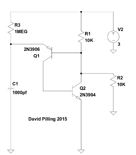 Basic programmable unijunction transistor (PUT) oscillator, David Pilling