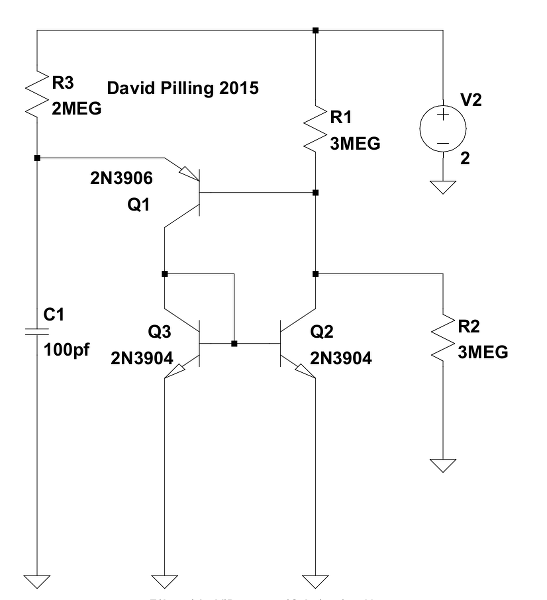 Low current programmable unijunction transistor (PUT) oscillator, David Pilling